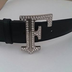 "Other - Genuine Leather Belt with Letter ""F"" Diamond stone"